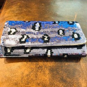 Betsey Johnson Bags - Betsey Johnson Silver & Black Sequin Clutch